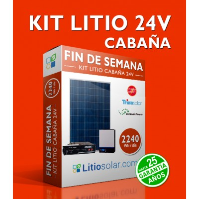 Kit LITIO CABAÑA 24V 2.240Wh/dia