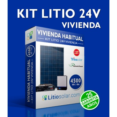 Kit LITIO 24V VIVIENDA 4500Wh/día